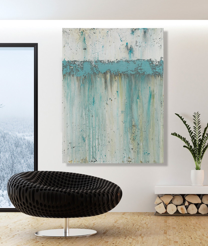 Reserved for kelly large teal wall art modern abstract by cmfa for Teal wall art