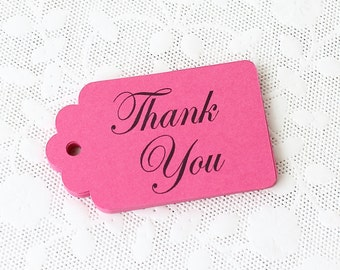 Pink Thank You Tags, Thank You Tags, Hot Pink Favor Tags, Wedding Favor Tags, Merchandise Tags, Paper Tags, Gift Tags, Bachelorette Favor