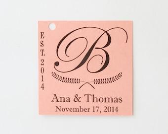 Wedding Tags 25, Personalized Tags, Custom Tags, Favor Tags, Rustic Tag, Coral Tags, Paper Tags, Kraft Tag, Thank You Tag, Square Tag