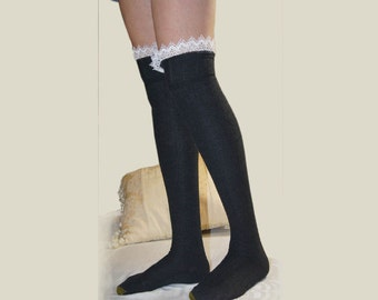 over the knee boots socks Charcoal tall socks high tight socks