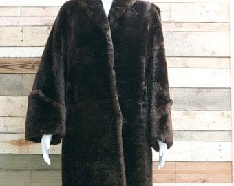 beautiful chocolate brown 1950's beaver lamb over coat. made in england