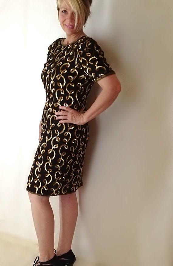 Vintage Beaded Dress Medium Large Little Black Dress Gold