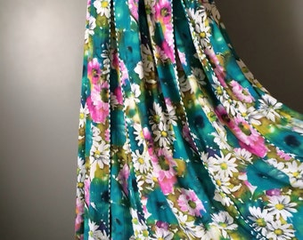 Vintage Bright Floral Skirt Aqua Teal Blue Green with Pink Yellow and White Flowers Watercolor Stripe Pleated Piping Long Skirt Size Medium