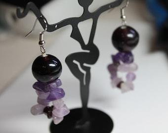 Chunky Rock Purple Earrings