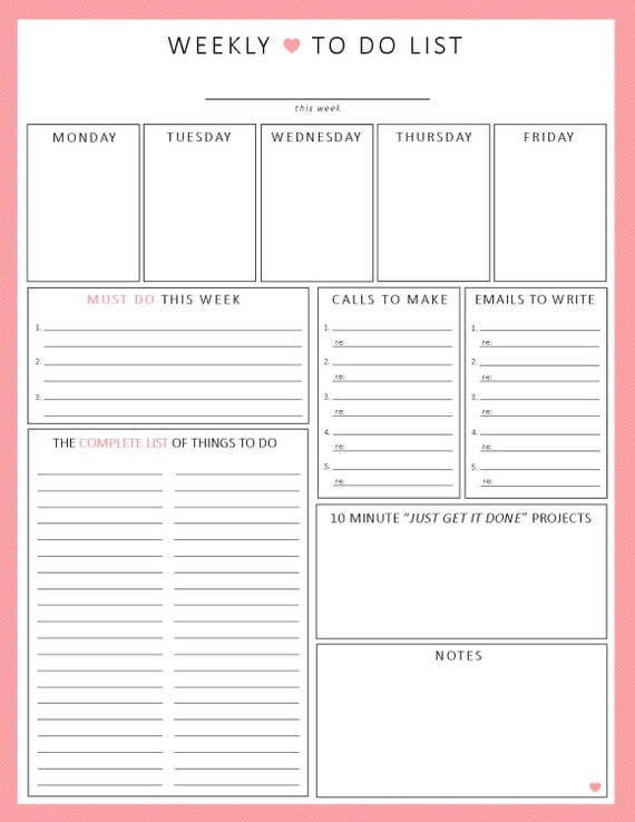 weekly to do list 1 sheet printable organization by sheplans. Black Bedroom Furniture Sets. Home Design Ideas