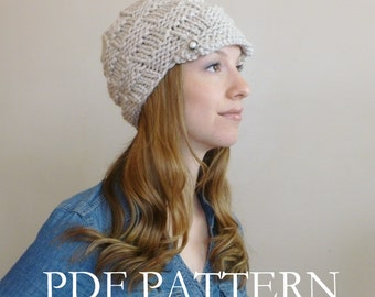 INSTANT DOWNLOAD Knit Hat Pattern Women's Knit Newsboy  - Knitting Hat Pattern - Knit Basket Weave Hat Pattern - Knit Newsboy Hat Pattern