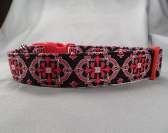 Fancy Dog Collar Red and Black Scroll