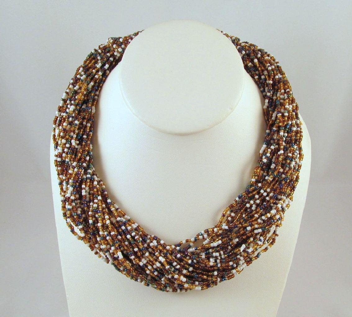 Torsade Necklace: Vintage Beaded Necklace Torsade Twisted Metallic Glass Seed