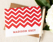 Personalized Notecard Set - Stripe Chevrons - Set of 8 Folded Personalized Stationery / Stationary Cards - Choose your color