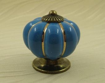 Bule  Pumpkin Ceramic Knobs / Dresser Drawer Knobs / Kitchen Cabinet Knobs Handle Pulls  Porcelain Knob Pull