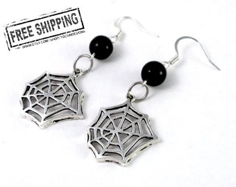 Spiderweb Earrings - gothic jewelry - gothic earrings Cobweb spider web jewelry - gothic  spider - halloween spider web earrings deathrock