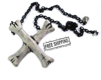 Bone Necklace - gothic jewelry - deathrock Crossbones - faux bone jewelry - goth crossed bones - psychobilly - punk rock - horror jewelry