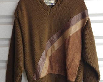 Brown Leather Sweater
