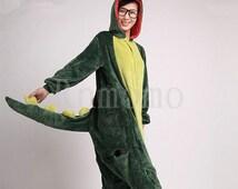 Adult Onesies Kigurumi Dinosaur Pajamas for Women Girls Men Boys Flannel Pajamas Sets Animals  Pyjamas Unisex (Slipper Not Included)