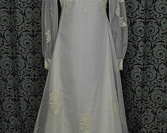 "Vintage 1970s White Chiffon Empire Wedding Dress/Gown w 68"" Train, ILGWU"