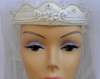 Vintage Bridal White Satin-covered Wedding Crown with Double Veil