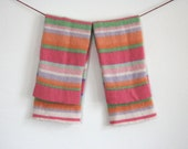 Toddler Legwarmers / Upcycled Knit Leggings / Pink striped wool leg warmers / Eco friendly 100% recycled / Girls sherbet muliti lime orange