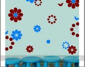 Flower wall decal - SET OF 46 Flower Butterfly Polka Dot Polkadot Wall Decals - Vinyl Lettering Wall Decal - Nursery Girls Wall Decal