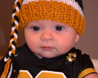 Hand Knit Mizzou Baby Boy or Girl Hat - Great Photo Prop