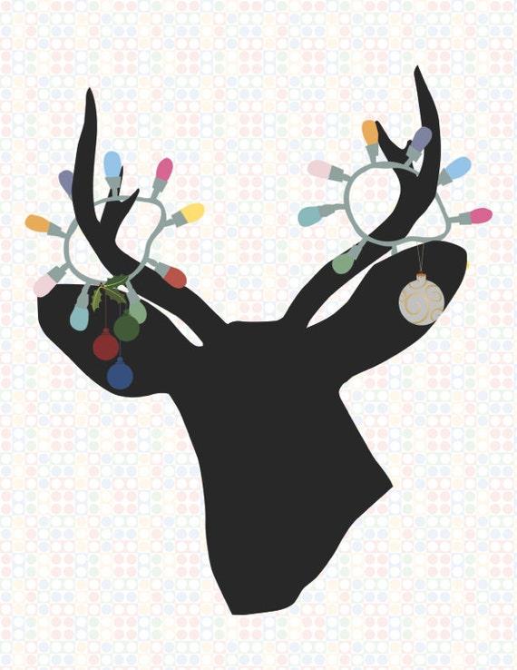 Deer Silhouette With Christmas Lights Print Tangled Reindeer