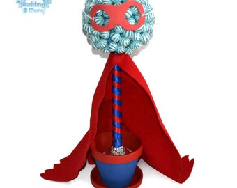 Superhero Lollipop Topiary, Superhero Candy Centerpiece, Superhero, Lollipop, Candy, Centerpiece, Topiary, Candy buffet, birthday, party