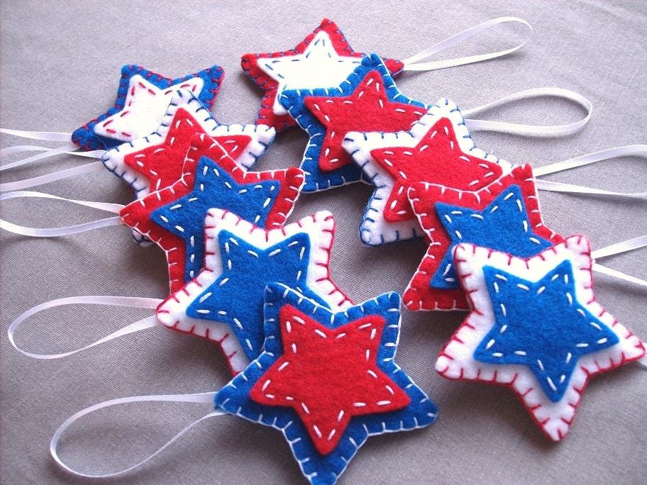10 Patriotic Star Ornaments Patriotic Decor Felt Stars