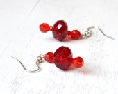 Red crystal dangle earrings, Ruby red beaded earrings, Bead dangle jewelry, Crimson red crystal earrings