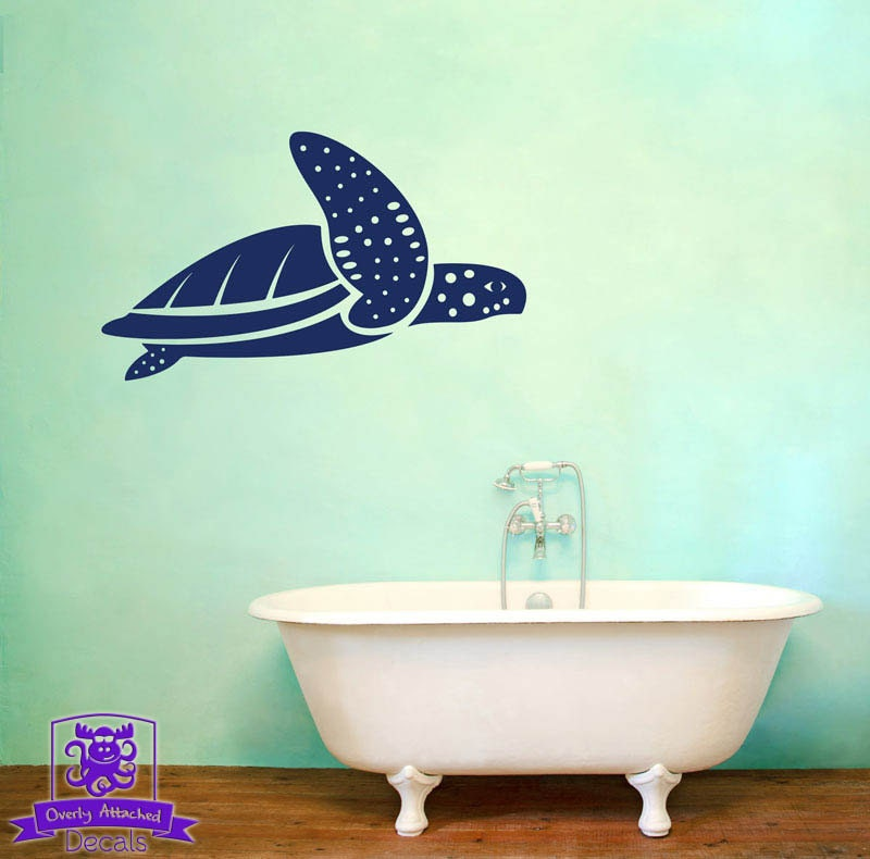 swimming sea turtle wall decal decor. Black Bedroom Furniture Sets. Home Design Ideas