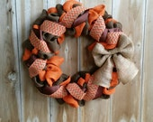 Fall Wreath, Autumn Burlap Wreath, Orange and Brown Wreath, Rustic Wreath, Wreaths