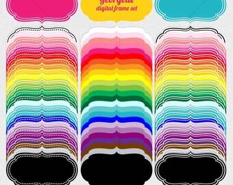 digital clip art scrapbook labels, 75 digital frames clipart, clip art frame for digi scrap, scrapbook supplies DIGITAL DOWNLOAD SB-348