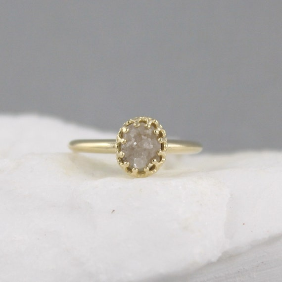 Ruby Birthstone Yellow Gold Raw Diamond Ring Vintage Style
