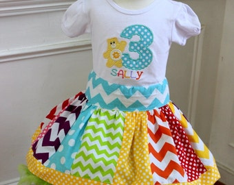 toddler birthday outfit Girls care bear birthday outfit skirt set yellow aqua hot pink  green chevron and polka dot skirt Girls skirt set