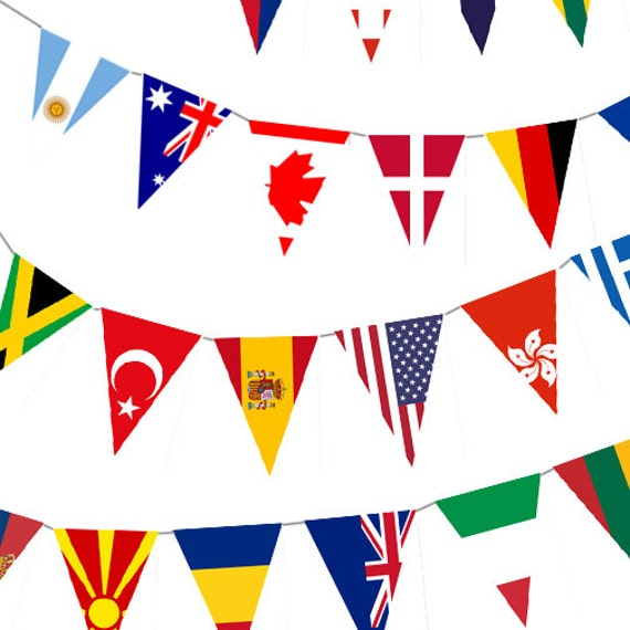 Instant Download World Flag Banner