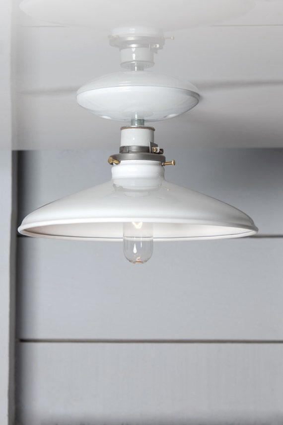 Industrial Ceiling Mount Light 10in White Metal Shade Lamp