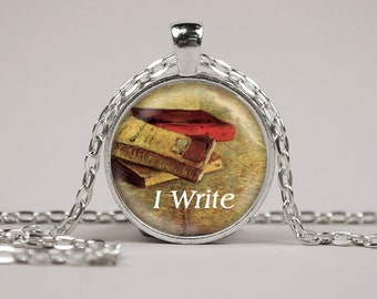 I Write Pendant Necklace or Keyring Glass Art Print Jewelry Charm Gifts for Her or Him Book Lover Teacher Librarian writer author