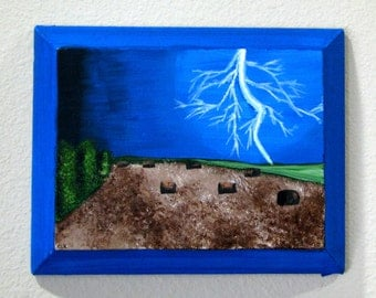 """Bright Lightning in Field 8"""" x 10"""" painting on canvas with slanted edges"""