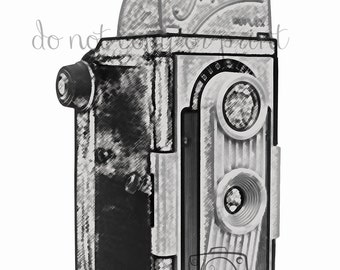 Twin Lens Reflex Camera digital drawing photography 5x7 print Digital art wall decor gift for photographer