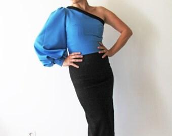 Black one shoulder midi dress, balloon sleeve dress, royal blue pencil one shoulder midi dress, two tone dress