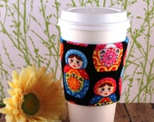 Fabric Coffee Cozy / Matryoshka Coffee Cozy / Russian Dolls Coffee Cozy / Coffee Cozy / Tea Cozy