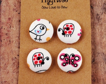 Fabric Covered Button Magnets / Bird and Bug Magnets / Bird Magnets / Bug Magnets / Strong Magnets / Refrigerator Magnets / Fridge Magnets