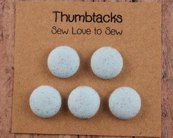 Fabric Covered Button Thumbtacks / Light Blue Sparkle Thumbtacks / Blue Thumbtacks / Thumbtacks / Push Pins / Bulletin Board / Cork Board