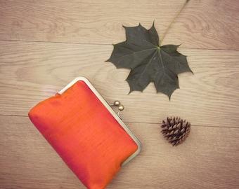Orange clutch, fall wedding, autumn wedding, orange bridal clutch, orange bridesmaid clutch, orange silk evening clutch, orange purse, uk