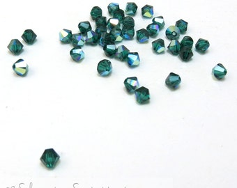 Swarovski Crystal 4mm Bicones, 24 Emerald Green Crystal Bicones, Dark Green Glass Beads, Aurora Borealis Finish, Item 147B