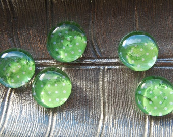 Green Polka Dot Glass Magnets - Set of 5