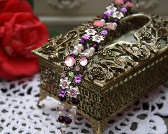 Pink and Purple Wildflower Charm Bracelet (8066)