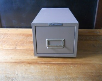 Vintage Industrial File Single Drawer Cabinet in Dusty Pink