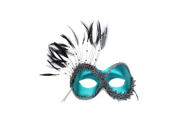 Persuasion Teal Masked Ball Masquerade Mask - A-0774LB-E