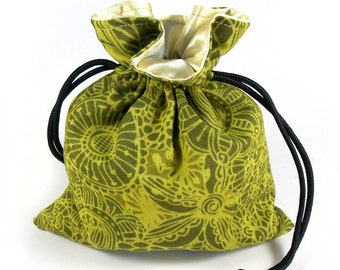 Wilderness Whimsy Printed Cotton Satin Lined Dice Bag / Drawstring Pouch