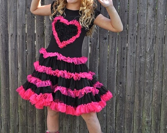 Black and Hot Pink Heart Chiffon Ruffle Dress for Girls!!!