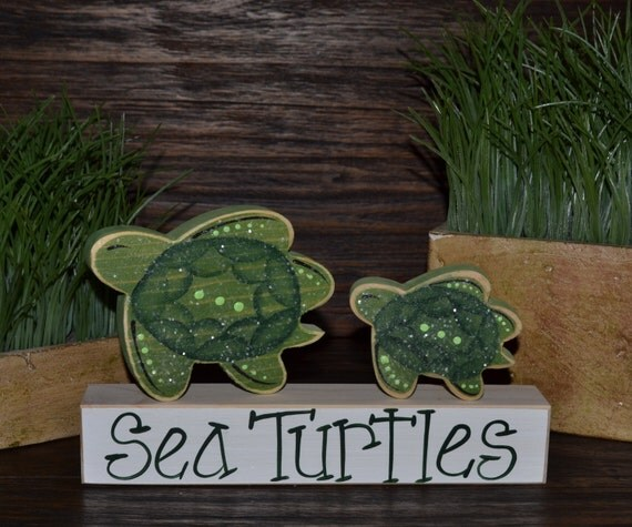 Hawaiian Sea Turtle Home Decor Block Set Tortuga Block Set Sea